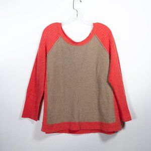 Free People Orange Tan Colorblock Sweater …